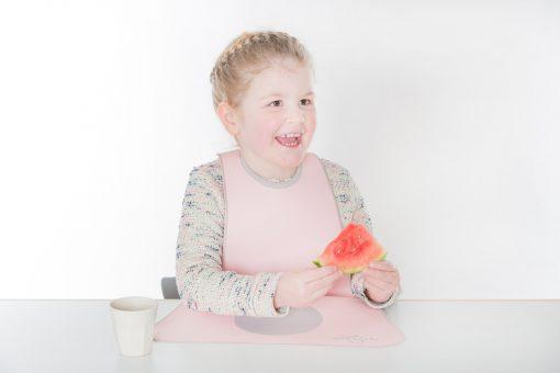 Kinderlätzchen von LaLatz, rosa mit grau