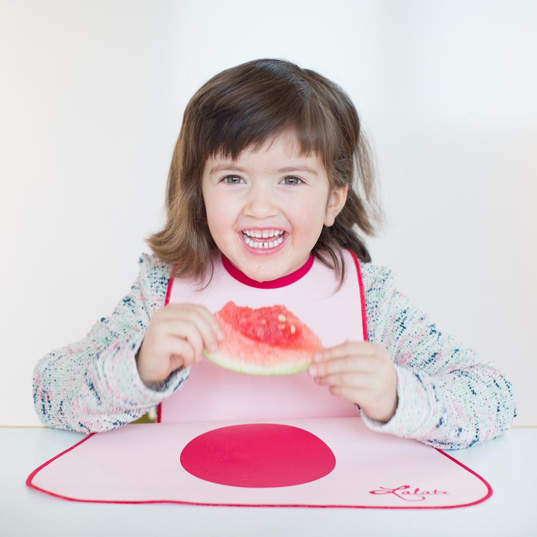 Lätzchen von LaLatz, rosa mit pink, frontal